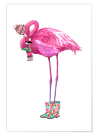 Premium-plakat  Pink flamingo med gummistøvler - Kidz Collection