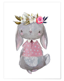 Premium-plakat Summer bunny with flowers in her hair