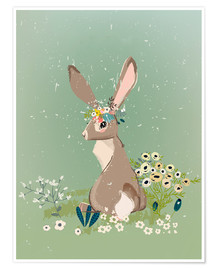 Premium-plakat Rabbit with wildflowers