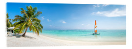 Akrylbillede  Maldives beach panorama with sailboat - Jan Christopher Becke