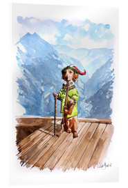 Akrylbillede  Dachshund in the Alps - Peter Guest