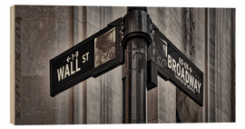 Print på træ  NYC Wall Street And Broadway Sign-New York City's Broadway Canyon of Heroes and Wall Street Sign. - age fotostock