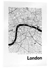 Akrylbillede  Bykort over London - 44spaces