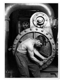 Premium-plakat Worker on steam engine