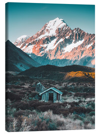 Lærredsbillede  Hytte ved Mount Cook i New Zealand - Nicky Price