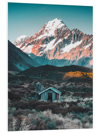 Print på skumplade  Hytte ved Mount Cook, New Zealand - Nicky Price