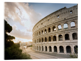 Akrylbillede  The lights of the sunrise frame the ancient Coliseum - Roberto Moiola