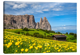 Lærredsbillede  Spring on the Alpe di Siusi in South Tyrol - Achim Thomae