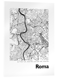 Akrylbillede  Map of Rome - 44spaces