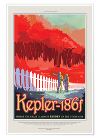 Premium-plakat Retro Space Travel – Kepler-186f