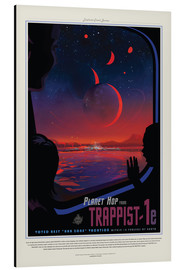 Print på aluminium  Retro Space Travel ? TRAPPIST-1e