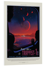 Print på skumplade  Retro Space Travel ? TRAPPIST-1e