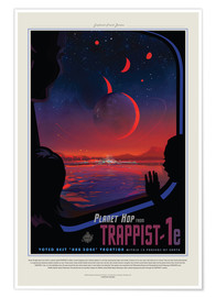 Premium-plakat Retro Space Travel – TRAPPIST-1e