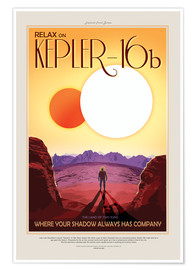Premium-plakat Retro Space Travel – Kepler-16b