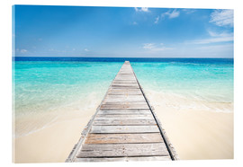 Akrylbillede  Jetty on a lonely island in the Maldives - Jan Christopher Becke
