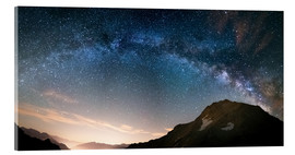 Akrylbillede  Milky Way arch and starry sky on the Alps. panoramic view - Fabio Lamanna