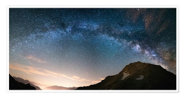Premium-plakat Milky Way arch and starry sky on the Alps. panoramic view
