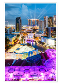 Premium-plakat  Downtown Singapore brightly lit. - Matteo Colombo