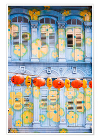Premium-plakat  Painted shutters in Chinatown, Singapor - Matteo Colombo