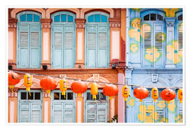 Premium-plakat  Colorful windows in Chinatown, Singapore - Matteo Colombo