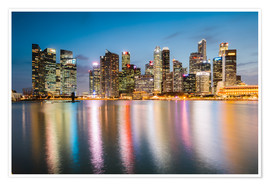 Premium-plakat  Singapore skyline at night - Matteo Colombo