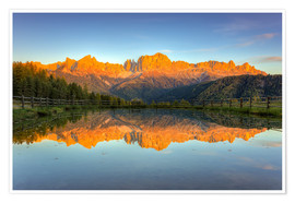 Premium-plakat Alpenglow on the rose garden in the Dolomites in South Tyrol