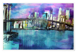 Premium-plakat New York Brooklyn Bridge
