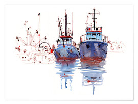 Premium-plakat Fishing cutter watercolor