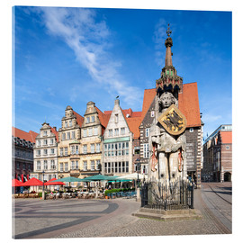 Akrylbillede  Historic Market Square in Bremen with Roland Statue - Jan Christopher Becke