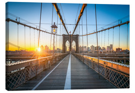 Lærredsbillede  Brooklyn Bridge at sunrise in front of the Brooklyn skyline - Jan Christopher Becke