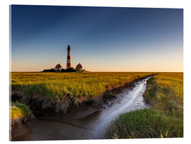Akrylbillede  Lighthouse Westerhever in the evening light - Heiko Mundel