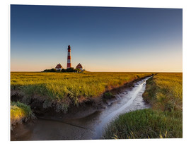 Print på skumplade  Lighthouse Westerhever in the evening light - Heiko Mundel