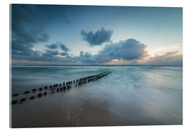 Akrylbillede  Groyne in the evening on Sylt (long exposure) - Heiko Mundel