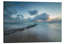 Print på aluminium  Groyne in the evening on Sylt (long exposure) - Heiko Mundel