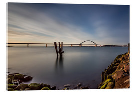 Akrylbillede  Fehmarnsund Bridge in the evening light (long exposure) - Heiko Mundel