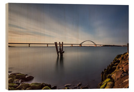 Print på træ  Fehmarnsund Bridge in the evening light (long exposure) - Heiko Mundel