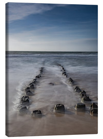 Lærredsbillede  Groyne on Sylt (long exposure) - Heiko Mundel