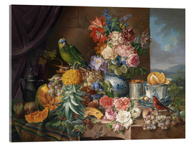 Akrylbillede  Still life with fruits flowers and parrot - Joseph Schuster