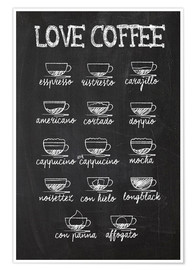 Premium-plakat Love Coffee - Kaffe variationer