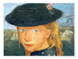 Premium-plakat Head of a little girl with straw hat