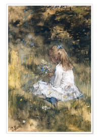 Premium-plakat Daughter of Jacob Maris with flowers in the grass
