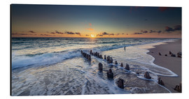 Print på aluminium  Groynes in the sunset - Heiko Mundel
