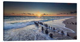 Lærredsbillede  Groynes in the sunset - Heiko Mundel