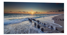 Print på skumplade  Groynes in the sunset - Heiko Mundel