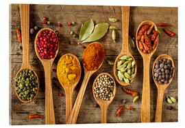 Akrylbillede  Colorful spices in wooden spoons - Elena Schweitzer