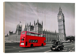 Print på træ  Rød bus på Westminster Bridge, London - Art Couture